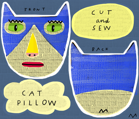 "10"" Tuxedo Cat Pillow fabric by kimmurton on Spoonflower - custom fabric"