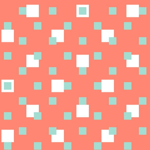 Mint + white squares on coral by Su_G_©SuSchaefer