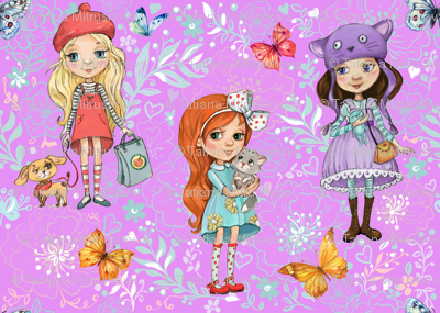 cute girls Wallpapers for children's room1