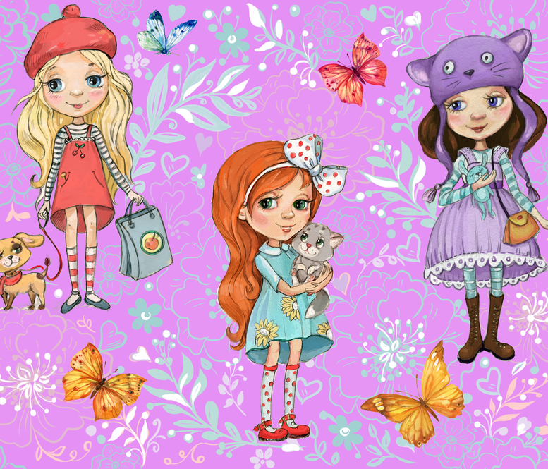cute girls Wallpapers for children's room1 fabric by mitrushovaart on Spoonflower - custom fabric