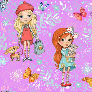 cute girls Wallpapers for children's room1