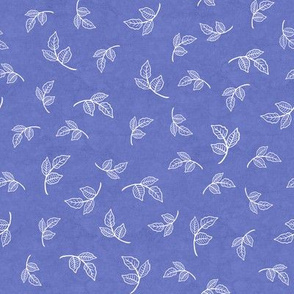 Scattered Small Rose Leaves on Iris Blue