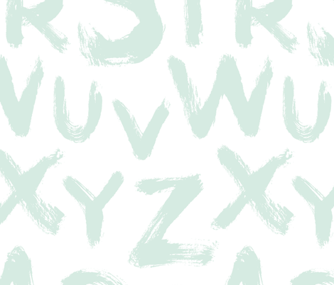Alphabet letters large mint fabric by revista on Spoonflower - custom fabric
