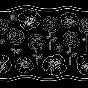 Poppies and Roses on Black Background-Monochromatic Flowers seamles repeat patternBackground in Black and white