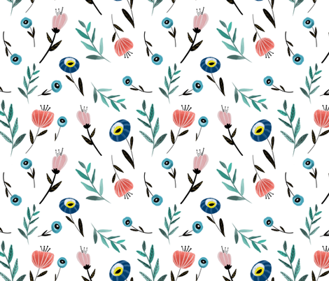 Florals and fronds fabric by tarareed on Spoonflower - custom fabric