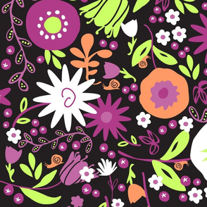 Whimsical Floral in Black, Lime & Peach