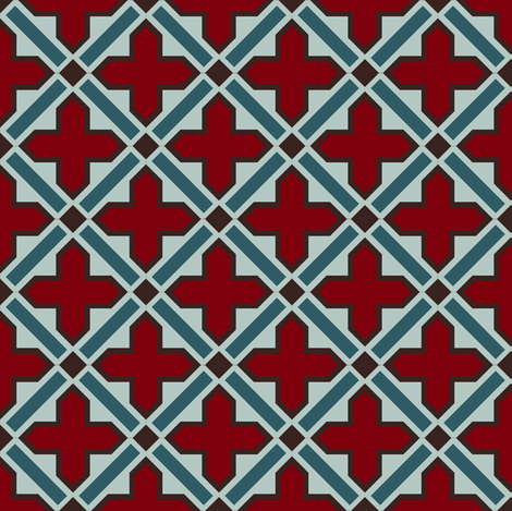 Moroccan tile in crimson and teal fabric by nlsd on Spoonflower - custom fabric