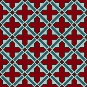 Moroccan tile in crimson and teal