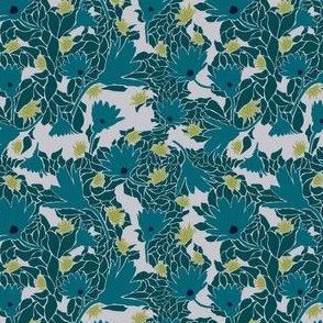 Blue Teal Flower and Leaf