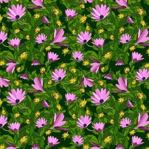 Pink Flowers-Leaves Dark Green Background
