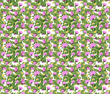 Pink-flowers-with-White fabric by faithdesigns on Spoonflower - custom fabric