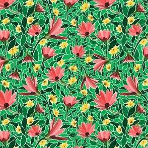 Red-flowers-Teal-Green-Leaves