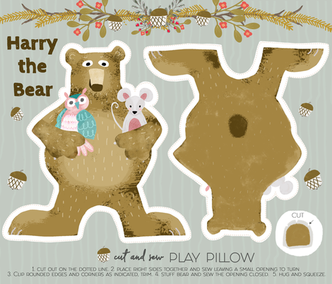 Harry the Bear fabric by bridgettstahlman on Spoonflower - custom fabric