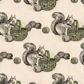Anthropomorphic Squirrel  with his Chestnuts