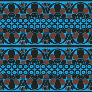 Native American Tribal Border Red on Blue