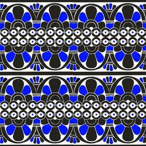 Native American Tribal Border Blue on White
