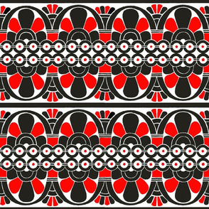 Native American Tribal Border Red on White