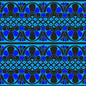 Native American Tribal Border Blue on Blue
