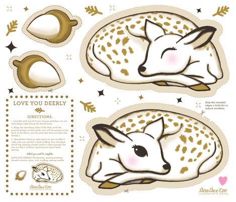 Love You Deerly Cut and Sew Plush fabric by baebeecoo on Spoonflower - custom fabric