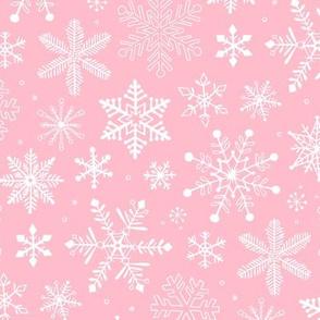 Snowflakes Christmas on Light Pink