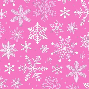 Snowflakes Christmas on Dark Pink