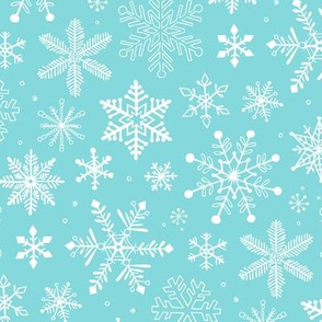 Snowflakes Christmas on Light Blue