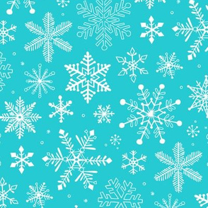 Snowflakes Christmas on Aqua Blue