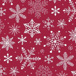 Snowflakes Christmas on Dark Red