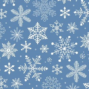 Snowflakes Christmas on Light Navy Blue