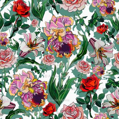 White Iris and roses