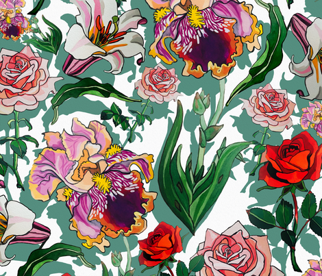 White Iris and roses fabric by ariellelouise on Spoonflower - custom fabric