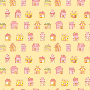 Colorful pattern with houses