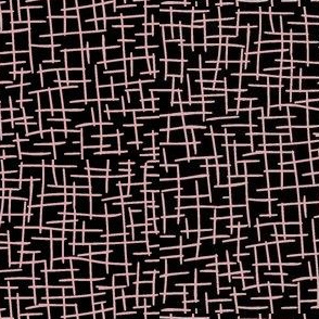Sketchy Mesh of Blush on Black - Large Scale
