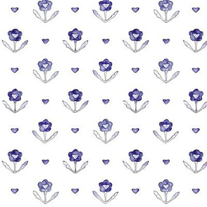 Vintage lovely floral pattern in saturated periwinkle blue