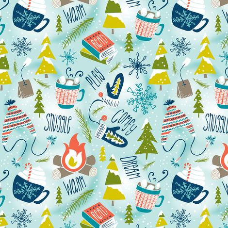 Snow Day Hooray! - Winter Fun Aqua Small Scale fabric by heatherdutton on Spoonflower - custom fabric