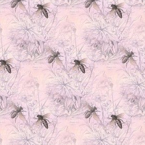 1840s Bees on Petal | Pink Morning