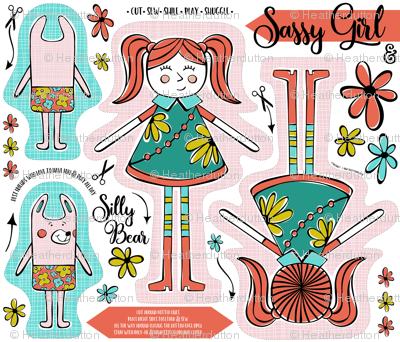 Sassy Girl & Silly Bear Fat Quarter Cut & Sew Project