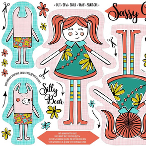 Sassy Girl & Silly Bear Fat Quarter Cut & Sew Project
