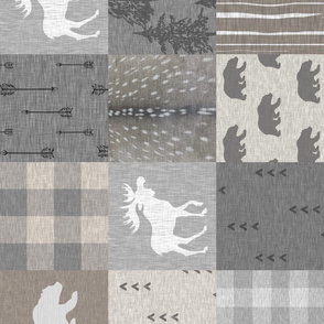 Woodland Quilt - Neutrals with moose  and bear - rotated
