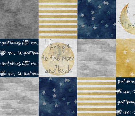 I Love You to the Moon And Back - Navy And gold fabric by sugarpinedesign on Spoonflower - custom fabric