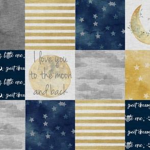 I Love You to the Moon And Back - Navy And gold