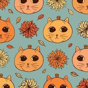 Kitty Pumpkins (sage background)