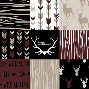 wholecloth Patchwork Deer - maroon, tan and black