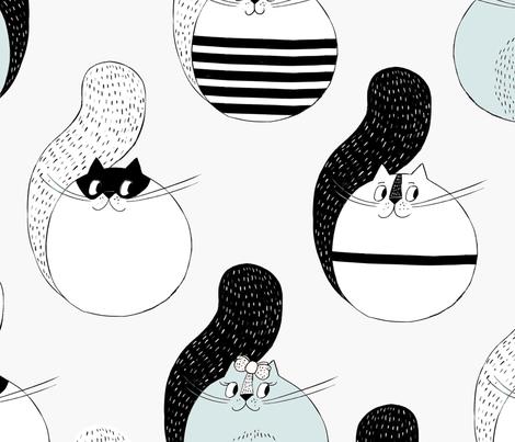 Mr.Meow and friends fabric by hala_kobrynska on Spoonflower - custom fabric