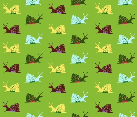 Colored snails fabric by inna_alborova on Spoonflower - custom fabric