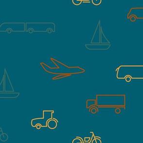 limited color transportation pattern-blue-medium