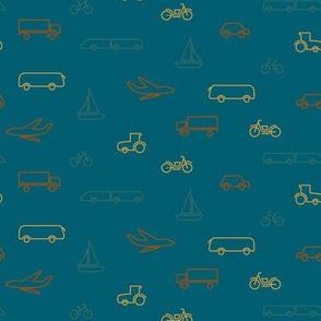 limited color transportation pattern-blue-07