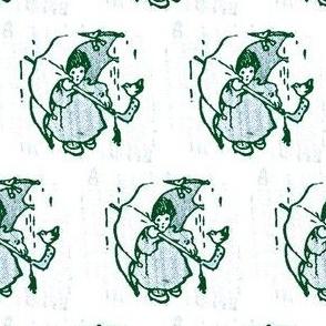 Girl with Big Umbrella and Little Bird