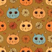 Kitty Pumpkins (sienna background)
