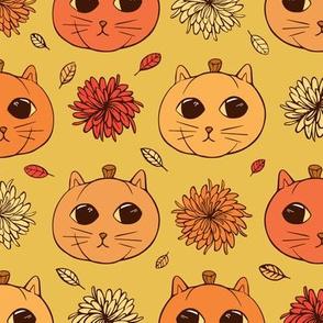 Kitty Pumpkins (golden yellow background)